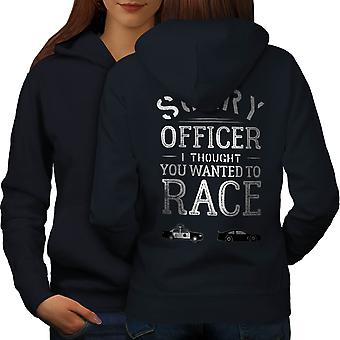 Upseeri Funy Race Naiset NavyHoodie takaisin | Wellcoda, mitä sinä olet?