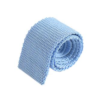 Diagonal weave plain knitted tie – sapphire blue