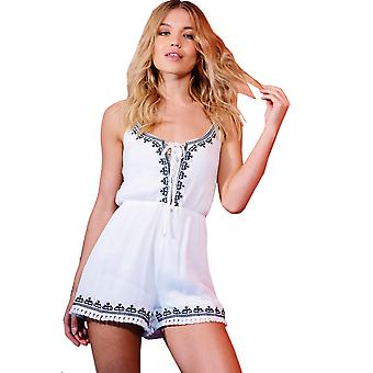 Parisisk hvit bomull broderte Playsuit med blonder slips
