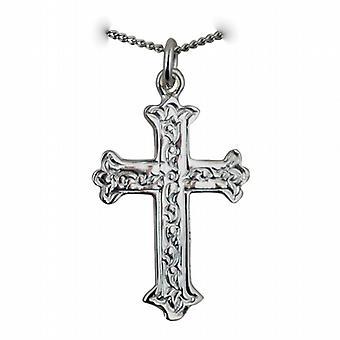Zilveren 30x22mm Fancy reliëf patroon Cross met een curb Chain 24 inch