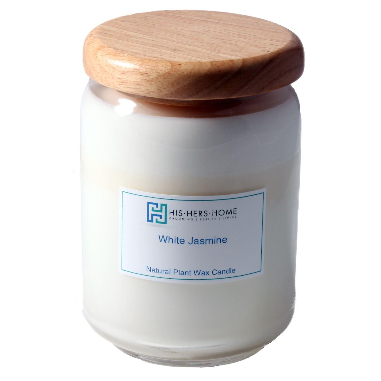 HisHersHome Natural Plant Wax Large Large Candle - White Jasmine