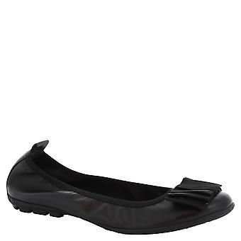 Ballerines à la main de Leonardo chaussures femme en cuir noir