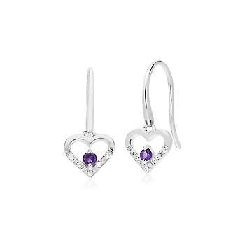 Gemondo 9ct White Gold Single Amethyst & Diamond Heart Drop Earrings