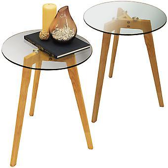 Luna - 2er-Pack - Retro-stabiles Holz Stativbein und Runde Glas Ende / Beistelltisch - Natural / klar