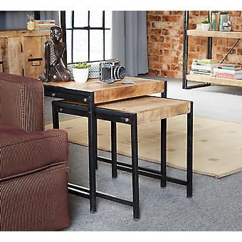 Maison Industrial Metal & Wood Nest Of 2 Tables