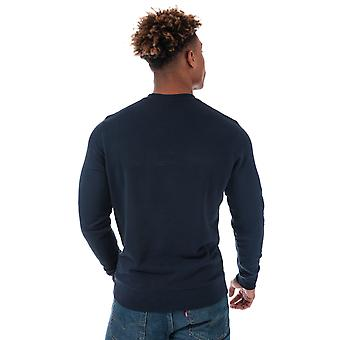 Mens Wrangler Logo Crew Sweat In Navy- Ribbed Cuffs, Collar And Hem- Sewn In V