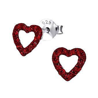 Sterling Silver Red Heart brincos de cristal Stud
