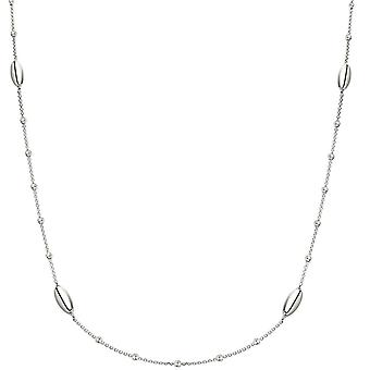 Bella Oval and Round Bead Necklace - Silver