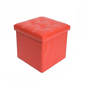 Muebles Rebecca Pouf Cube Red Container Puff Ecoleather Stool 30x30x30