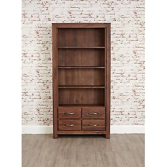 Mayan Walnut Large 4 Drawer Bookcase Brown - Baumhaus