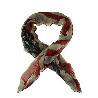 ヴィンテージ色あせたアメリカの旗のプリント軽量夏のスカーフ