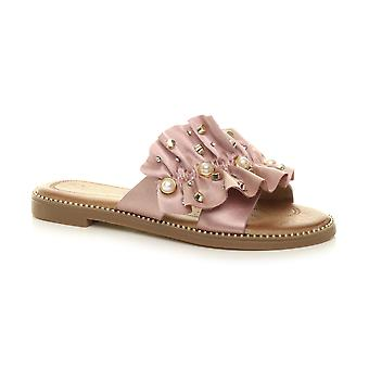 Ajvani Womens flat low heel flower cut out pearl evening slip on ruffle flip flops sandals