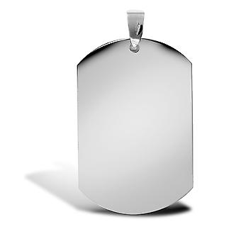 Jewelco London Solid 9ct Bianco Oro Cane Tag Ciondolo