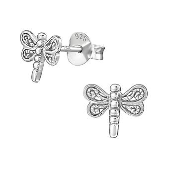 Dragonfly - 925 Sterling Silver Plain Ear Studs - W38923x