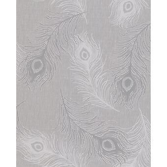 Peacock Feather Glitter Wallpaper Teal Cream Grey Silver Vinyl Debona Viola