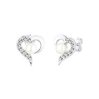 Elli Earrings Women's Silver 925 With Swarovski Crystals - White 0311770713