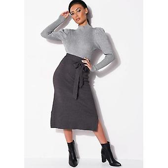 Tie midja sticka delad sida MIDI kjol Charcoal Grey