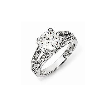 925 Sterling Silver Checker cut CZ Cubic Zirconia Simulated Diamond Ring Size 6 Jewelry Gifts for Women