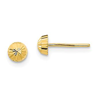 14k Yellow Gold Polished Sparkle-Cut 4mm Half-ball Post Earrings