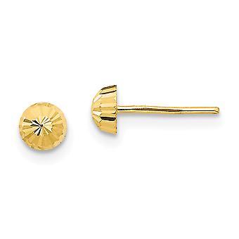 14k Gul Guld polerad Sparkle Cut 4mm Halv boll Post Örhängen Smycken Gåvor för kvinnor