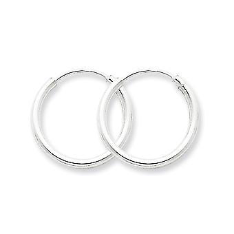 925 Sterling Silver Hinged Polished Hollow tube 2mm Hoop Boucles d'oreilles Bijoux Cadeaux pour les femmes