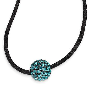 Black Plating Fancy Lobster Closure Black plated Teal Crystal Fireball 16 Inch com ext Satin Cord Necklace Jewely Gift