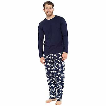 Mens Reindeer Print 100% Cotton Loungewear Pyjamas