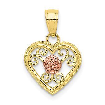 10 k tvåfärgade polerad texturerat baksidan guld litet hjärta Charm -.6 gram
