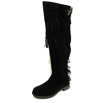 Ladies Spot On Boots F50488 Black Suedette Size 5 UK