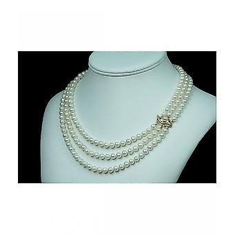 Luna-Pearls Akoya Pearl Necklace 2 Rubies 6 Diamonds HKS93