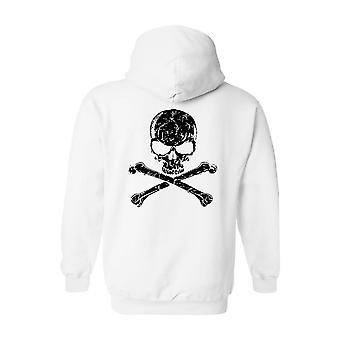 Mænd ' s zip-up hoodie biker sort kranium og Kors knogler