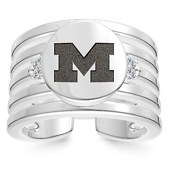 University Of Michigan Engraved Sterling Silver Diamond Multiband Cuff Ring