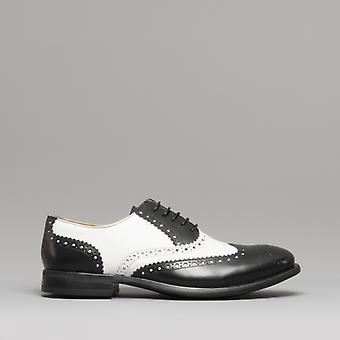 Mister Carlo Monty Ii Mens Leather Brogue Lace Ups Black/white