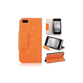 Orange Cover Top Horizontal MagnetIzed Pattern Smiley For IPhone 5