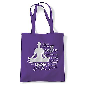 Grant Me Coffee And Yoga Tote | Yoga Yogi Sutra Mantra Stress Relief Relax Pose | Reusable Shopping Cotton Canvas Long Handled Natural Shopper Eco-Friendly Fashion