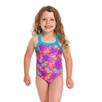 Zoggs Girls Sea Unicorn Ruffle X tillbaka ett stycke baddräkt-rosa/multi