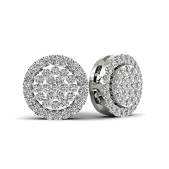 Boucles d'oreilles Igi certifiés 10k or blanc 0.18ct tdw de grappe de diamant halo stud