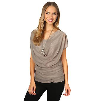 KRISP Womens Ladies 2 in 1 Pleated Cowl Neck Mesh Layer Vest Top Tunic Blouse Summer
