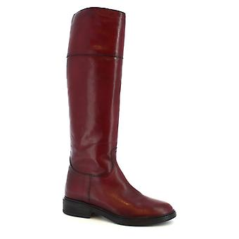 Leonardo Shoes Women's handmade boots in burgundy calf leather with side zip