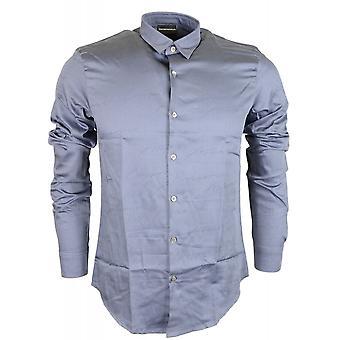 Emporio Armani Cotton Piquet Long Sleeve All Over Armani Logo Blue Shirt
