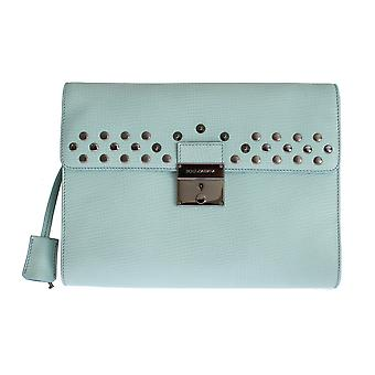 Dolce & Gabbana Blue Leather Studded Document Portfolio Briefcase Keyhole Fastener Bag