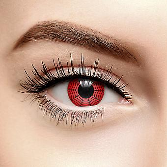Red Web Halloween Colored Contact Lenses (90 Dia)