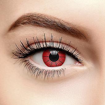 Rød Web Halloween Fargede Kontaktlinser (90 Dag)