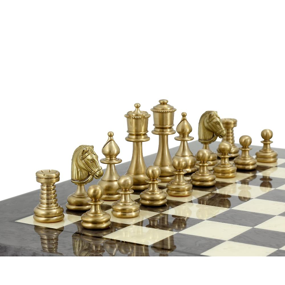 Verona Series 2.75 Inches Brass and Nickel Chess Pieces