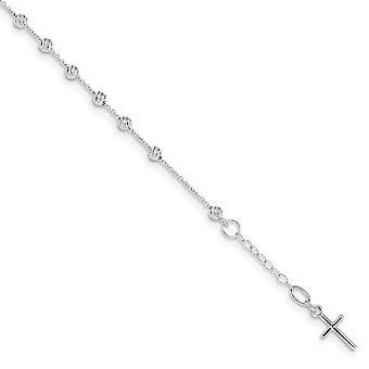6.3mm 14k White Gold Sparkle Cut Religious Faith Cross and Miraculous Medal .75inch Ext. Bracelet 6 Inch