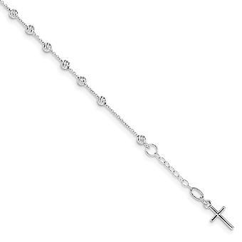 6.3mm 14k valkoinen kulta kimallus leikkaa uskonnon rajat ja ihmeellinen mitali .75inch Ext. rannekoru 6 tuumaa