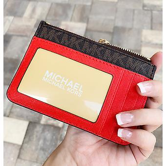 Michael kors jet set travel small top zip coin pouch brown sangria