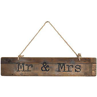M. et Mme Rustic Wooden Message Plaque