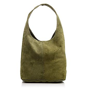 FIRENZE ARTEGIANI Real Leather Women's Bag. Women's bag leather genuine suede. Soft touch. Shopper bag. Women's shoulder bag Made in ITALY. REAL ITALIAN PELLE 37x35x18 cm. Color: GREEN