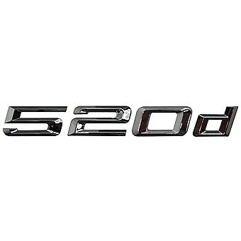 Silver Chrome BMW 520d Car Model Rear Boot Number Letter Sticker Decal Badge Emblem For 5 Series E93 E60 E61 F10 F11 F07 F18 G30 G31 G38